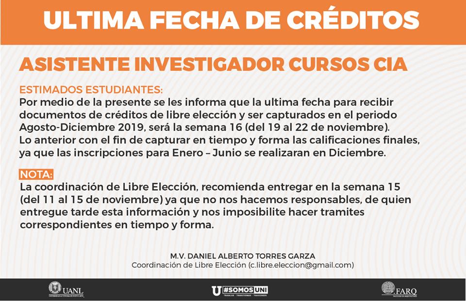 ÚLTIMA FECHA DE CRÉDITOS